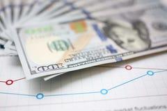 Огромный пакет денег США лежа вниз на важном финансовом документе стоковые изображения rf