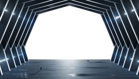 Огромный сизоватый интерьер космического корабля залы изолировал перевод 3D иллюстрация вектора