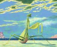 Огромный mantis сидя на песчаном пляже иллюстрация вектора