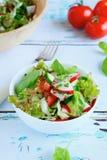 огурец вишни моркови capsicum шара фасолей включает томаты шнура шпината салата сливы салата листьев красные белые Стоковая Фотография