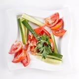 огурцы отрезали свежие томаты Стоковая Фотография RF