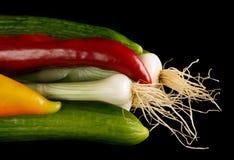 Огурцы, перцы и лук Стоковое Фото