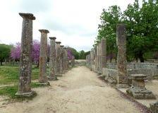 Оглушать руины внутри археологических раскопок Олимпии Стоковое Фото