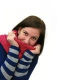одевает девушку представляя зиму Стоковые Изображения RF