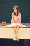 одевает девушку ретро Стоковая Фотография