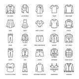 Одежда, линия значки fasion плоская Люди, одеяние женщин - Стоковое фото RF
