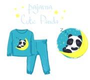 Одежда младенца моды пижамы детей, медведь панды печати иллюстрация штока