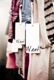 одежды бутика хотят Стоковое Изображение