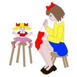 Одежды девушки шить для кукол стоковые изображения rf
