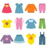 Одежды для детей Иллюстрации вектора плоские иллюстрация штока