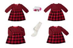 Одежды для детей Комплект красивого красного и черного контролера стоковые фотографии rf