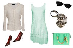 Одежды женщины коллажа Установите стильных и ультрамодных платьев женщин, блузки и аксессуаров изолированных на белой предпосылке стоковые изображения rf