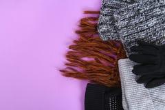 Одежды зимы и осени, шляпы, шарфы, перчатки на фиолетовой пастельной предпосылке Стоковое Изображение