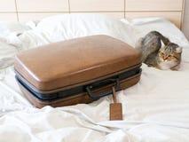 Одежды пакета чемодана багажа готовые для того чтобы отдохнуть перемещение выходных стоковое фото