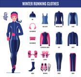 Одежды хода зимы установили для женщины в плоском стиле стоковая фотография rf