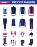 Одежды хода зимы установили для женщины в плоском стиле стоковое изображение