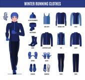 Одежды хода зимы установили для человека в плоском стиле стоковые изображения rf