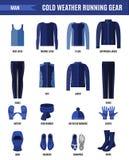 Одежды хода зимы установили для человека в плоском стиле стоковое фото rf