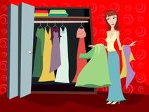 одежды шкафа брюнет иллюстрация штока