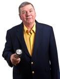 одетьнный человек удерживания электрофонаря возмужалый славно Стоковая Фотография RF