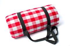 Одеяло пикника изолированное на белой предпосылке Стоковые Фотографии RF