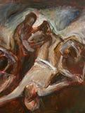 одиннадцатый крестный путь, распятие: Иисус пригвозжен к кресту стоковые фото