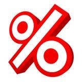 Одиночная изолированная красная графическая продажа знака процентов двинула под углом 3D иллюстрация вектора