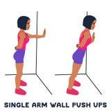 Одиночная стена руки нажимает поднимает Exersice спорта Силуэты женщины делая тренировку Разминка, тренируя иллюстрация вектора