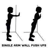 Одиночная стена руки нажимает поднимает Exersice спорта Силуэты женщины делая тренировку Разминка, тренируя иллюстрация штока