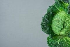 Одиночная сырцовая органическая капуста савойя с красивым кустовидным широким зеленым цветом выходит текстура на серую каменную п Стоковые Изображения RF