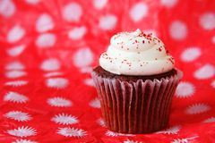 Одиночное красное пирожное бархата Стоковые Фото