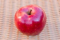 Одиночное торжественное яблоко изолированное на коричневой предпосылке стоковое изображение rf