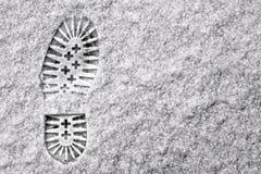 Одиночный след ноги в снежке Стоковое Фото