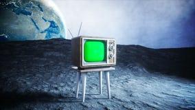Один астронавт на ТВ вахты луны старом Отслеживать ваше содержание Анимация Ralistic 4K бесплатная иллюстрация