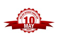 Один день без дня ботинок Календарь ленты 10-ое мая Красный цвет вектора иллюстрация штока