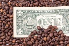 Один доллар в кофейных зернах Стоковые Изображения RF