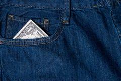 Один доллар счета в карманн Стоковое Изображение RF