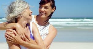 Один другого обнимать матери и дочери на пляже видеоматериал