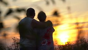 Один другого обнимать человека и женщины смотря заход солнца Стоковая Фотография RF