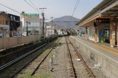 Один из железнодорожного пути Fujikyu на Otsuki Стоковые Фотографии RF
