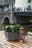 Один малый медный фонарик на деревянном столе с цветками около реки Стоковое фото RF