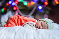 Один младенец недели старый newborn около рождественской елки Стоковая Фотография