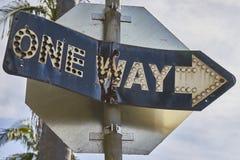 Один путь или стоп; старый и новый signage стоковая фотография rf