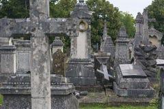 Один серый упаденный крест на французском кладбище Стоковая Фотография