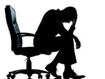 Один силуэт despair бизнесмена утомленный унылый стоковые фотографии rf