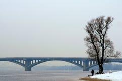 Один человек идет вдоль банка реки Dnieper Фото ландшафта зимы Kyiv, Украин Стоковые Фото