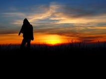 Один человек и последний свет Стоковые Фотографии RF