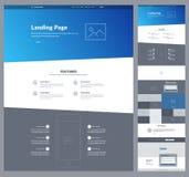 Один шаблон дизайна вебсайта страницы для вашего дела Страница Wireframe посадки Дизайн вебсайта ui Ux Плоский современный отзывч Стоковое Изображение
