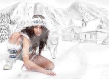 одичалая женщина зимы Стоковое фото RF