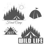 Одичалая жизнь - лагерь леса - эмблема вектора клуба разведчика иллюстрация штока